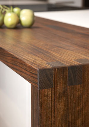 solid wood worktop with finger joined end