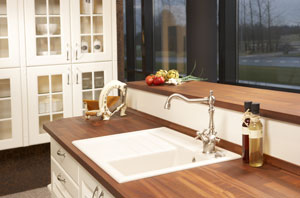 solid wood worktop with matching window cill